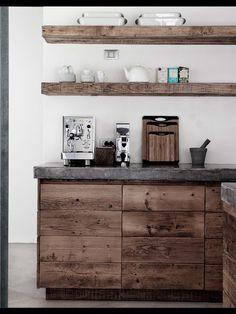 Rustic + Wood + White + Natural Modern Home Interiors Contemporary Decor Design Home Decor Kitchen, Concrete Kitchen, House Design, Modern Houses Interior, Contemporary Decor, House Interior, Rustic Kitchen, Kitchen Shelves, Rustic House