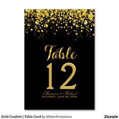 Gold Confetti   Table Card