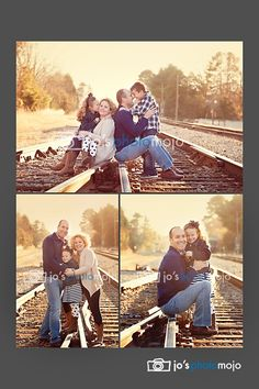Photography Poses On Railroad Tracks   on train tracks. Love the pose on the top photo. #family #photography ...