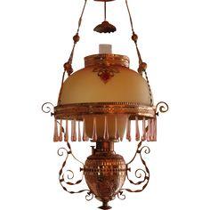 WOW! ANTIQUE Victorian Ansonia Hanging Library Kerosene Oil Lamp ~  RARE Jeweled Frame ~ Outstanding @rubylanecom #vintagebeginshere  Hand Blown Mt Washington Burmese Shade and Under Shade  ~ c1865