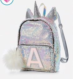 Justice Girl Glitter Stripe Silver Gold Initial Letter Back Pack School Cute NEW