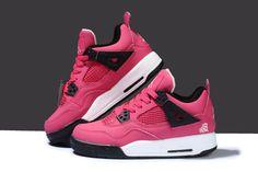 5e83c23da42a Michale Jordan Retro 4 Womens Pink Black White Cheap Jordans