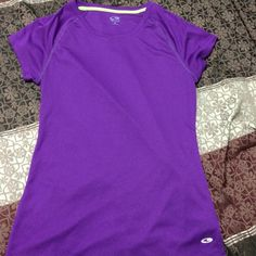 Purple work out shirt Purple breathable work out shirt 100% polyester Champion Tops