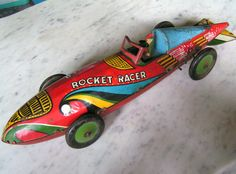 "1935 ANTIQUE 17"" MARX Rocket Racer Wind-up Toy TIN LITHO BLUE BACK Vtg Car LARGE 
