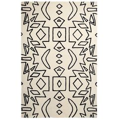 Spectrum Aztec Wool Rug, White