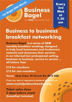 Business Bagel, Crystal Palace Chamber of Commerce business networking. Wed. 20th Mar. 7:30am.