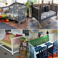 Fabulous DIY Ideas to Repurpose Old Cribs Recycle your outgrown baby cribs into something new for home and garden decoration Refurbished Furniture, Repurposed Furniture, Furniture Makeover, Repurposed Doors, Furniture Projects, Home Projects, Diy Furniture, Garden Furniture, Cabin Furniture