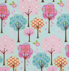 A whimsical tree print on pale aqua from Dena Designs! This colourful and fun print will look great made up into bags, home de