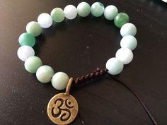 Green Om shamballa bracelet by Lucky Charmz Jewelry on Aftcra.com