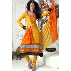 Yellow FauxGeorgette Anarkali Suit