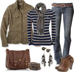 Blue striped long sleeve, boot cut jeans, grey scarf, brown booties, brown jacket