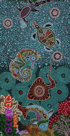 "Aboriginal Art ""Sea Turtles"" by Kenneth Kendall Aboriginal Art Australian, Aboriginal Dot Painting, Indigenous Australian Art, Dot Art Painting, Indigenous Art, Encaustic Painting, Mandala Art, Art Graphique, Native Art"
