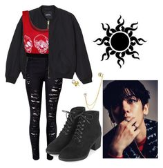 """""""Exo Monster Inspired Outfit"""" by pandagirl2102 ❤ liked on Polyvore featuring Monki, WearAll, Topshop and Bling Jewelry"""