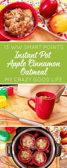 Homemade and delicious Instant Pot Apple Cinnamon Oatmeal cups, AND they're 21 Day Fix Friendly! This recipe makes one or four oatmeal cups. | 21 Day Fix Oatmeal | Weight Watchers Instant Pot Apple Cinnamon Oatmeal Cups | Oatmeal Cups for Weight Watchers