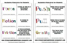 Force and Motion Vocab Cards