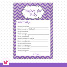 INSTANT DOWNLOAD Printable Purple Grey Chevron Wishes for Baby Card - Baby Shower Boy Girl Cute Adorable Activities Games Baby Shower Purple, Purple Baby, Purple Chevron, Baby Shower Games, Baby Shower Parties, Baby Showers, Shower Party, Shower Bebe, Girl Shower