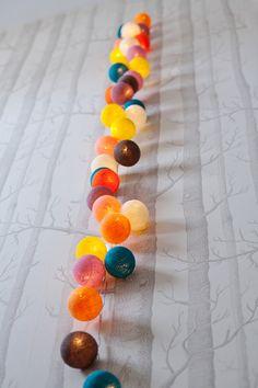 Deilige, søte og fargerike bomullsdotter i lyslenke!  http://cableandcotton.co.uk