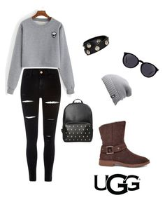 """""""The New Classics With UGG: Contest Entry"""" by jadeexdo ❤ liked on Polyvore featuring UGG, River Island, Versace, Yves Saint Laurent, The North Face and ugg"""