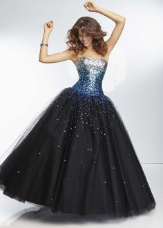Low Price Guarantee on all 2014 prom dresses, Paparazzi by Mori Lee 95128 black, blue beaded sweetheart prom dress at RissyRoos.com.