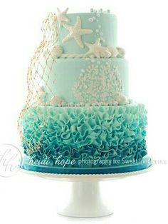 Ombre Ocean Cake…would be great in coral tones, too! Ombre Ocean Cake…would be great in coral tones, too! Ocean Cakes, Beach Cakes, Beach Theme Cakes, Beautiful Cakes, Amazing Cakes, Beautiful Ocean, Birthday Cakes For Teens, Beach Birthday Cakes, 17th Birthday