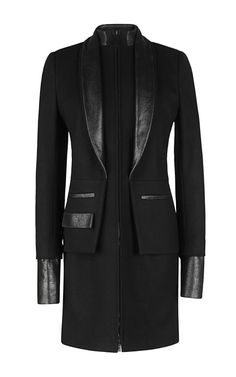 Wool Cashmere Flannel And Cracked Leather Coat by Maxime Simoens - Moda Operandi