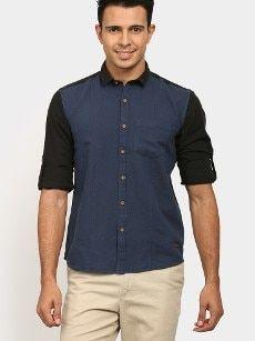 abof Men Navy & Black Linen Blend Regular Fit Casual Shirt Casual Shirts For Men, Men Casual, Men Online, Black Linen, Slim, Shirt Dress, Navy, Fitness, Mens Tops