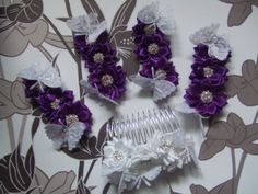 Special Order - A Pretty Flower and Butterfly Theme on a Comb for the Bride and Clips for the Bridesmaids.