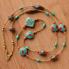 RJ26 Nepalese Handmade Turquoise Coral Brass Necklace from Nepal #Eksha #Necklace