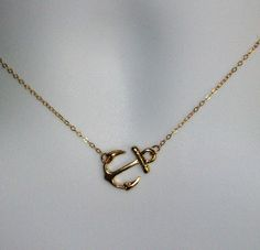 Gold Anchor Necklace - Sideways Anchor Necklace in Gold - Nautical Jewelry - Gold Nautical Charm - Navy Wife Jewelry - Anchor Necklace