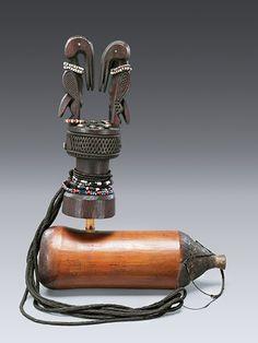 Africa   Pipe from Tanzania (from the Yao, Nyanja, Zaramo or Ngoni people )   Wood, bamboo, brass, glass beads and vegetal fiber