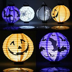 Halloween Decoration LED Paper Pumpkin Light Hanging Lantern Lamp Halloween Props Outdoor Party Supplies. (2 pcs/set ) -- Awesome products selected by Anna Churchill