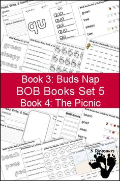 Free BOB Books Set 5 Books 3 & 4 Printables: Include writing, coloring, decoding & matching, answer questions and more. Plus some extra pages as well - 3Dinosaurs.com