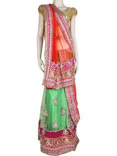 G3fashions Orange green net lehenga saree Products price: ₹ 21,665.00 Products code: G3-WSA1760