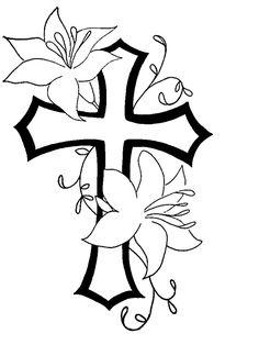 Cross n flower tat design by NatchezArtist.deviantart.com on @deviantART