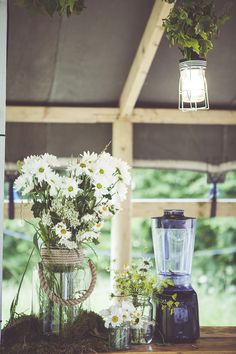 Daisy Wedding Flowers Jars Woodland Farm Glamping Festoon Light Wedding http://www.mybeautifulbride.co.uk/
