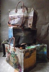 beautiful bags made from vintage art canvas