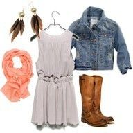 Jean jacket. Dress. Scarf. Boots!!