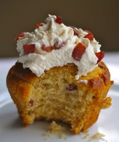"""This is a real thing, and it's called """"Bacon and Maple Syrup Muffins with Earl Grey Cream and Candied Bacon Bits"""""""