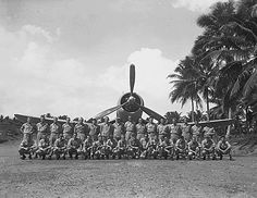 VMF-214 on Turtle Bay fighter strip, Espiritu Santo, New Hebrides. VMF-214 poses for a group picture before leaving for Munda. Colonel Gregory Boyington's Black Sheep Squadron.