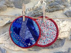 Pair of Round Crazy Patch Pot Holders / Hot Pads by zoedawn