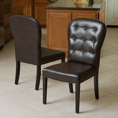 Roseburg Brown Tufted Leather Dining Chairs (Set of 2)