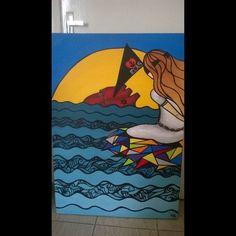 Coração ao mar - acervo  Acrílica - tela 1,0X80 arte - art - pintura