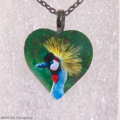 Grey Crowned Crane Heart Necklace,Crane,Crowned Crane,Animal,Bird,Zoo,Puffy Heart,Glass Pendant,Gunmetal Bail & Necklace -- DSC5219D-HT30-GG by PhotoGemsJewelry on Etsy