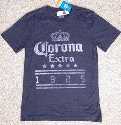 New$27 Gap®CORONA EXTRA 1925 BEER TEE Heather-Navy-Blue&White Faded-Vtg-look MEN #Corona #GraphicTee