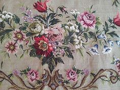 """Nettie Wasserman Wool ROSES & FLORALS Needlepoint Rug Panel ~ Unfinished~ 34""""x62"""