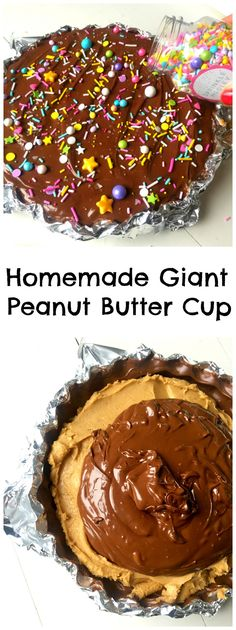 The ridiculously simple and delicious way to make an Easy Giant Peanut Butter Cup! Only FIVE ingredients, no baking and ten minutes of your time! Creamy Peanut Butter, Peanut Butter Cups, Chocolate Peanut Butter, Chocolate Desserts, Melting Chocolate, Chocolate Heaven, Delicious Desserts, Dessert Recipes, Sweet Desserts
