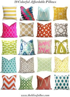 My top 20 affordable colorful pillows for Spring The Blissful Bee My New Room, My Room, Childrens Room, Colorful Pillows, Decoration, Graphic Prints, Accent Pillows, Home Accessories, Decorative Pillows
