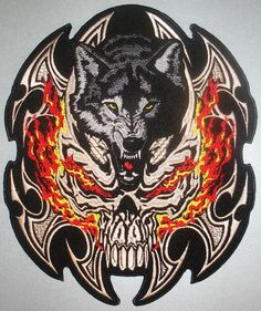 Biker Patches   Embroidered Biker Motorcycle Back Skull Wolf Patch