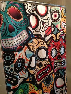 Day of the Dead Shower Curtain - Decorative Fabric Shower Curtain - My Sugar Skulls