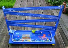 """wooden toy marble run """"under the sea"""" Old Fashioned Toys, Handmade Toys, Under The Sea, Wooden Toys, Marble, Vintage, Etsy, Wooden Toy Plans, Wood Toys"""